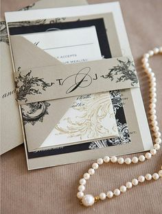 Limeade Deluxe Wedding Invitation Suite  Gold Black Ivory