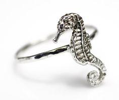 Hippocampe Seahorse bague nautique Plage de bijoux bijoux bague en argent d'empilage
