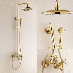 Ricketts Wall Mounted Gold Finish RainFall Shower Set with Handheld Shower, Tub Spout and Hot & Cold Mixer - Funitic Gold Shower, Shower Set, Rain Shower, Fixed Shower Head, Rainfall Shower, Hand Held Shower, Shower Systems, Bathroom Fixtures, Shower Heads