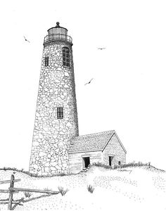 Lighthouse Drawing - Great Point Lighthouse by Tim Murray Pencil Art Drawings, Realistic Drawings, Lighthouse Drawing, Octopus Tattoo Design, Travel Sketchbook, Pencil Shading, Sketchbook Inspiration, Painting Videos, Learn To Paint