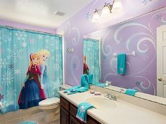"frozen bathroom prints - set of 4 prints - ""even elsa washes her"