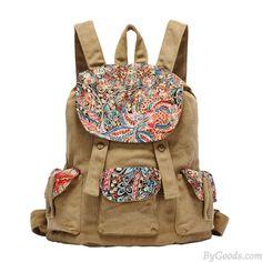 Retro National Floral Printing Canvas Backpack only $34.99 in ByGoods.com!