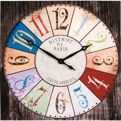 Recreate the style of a genuine Paris bistro with this wonderful wall clock, balancing faded bright colours and aged wood detail for a superb sense of time and place. Wall Clocks Uk, Wall Clock Online, Kare Design, Paris Canvas, Paris 3, Style Loft, Cottage Style Decor, Aging Wood, Wood Detail