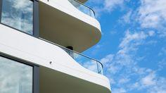 Balustrade with Curved Glass Curved Glass, Facade, Concrete, Building, Design, Home Decor, Decoration Home, Room Decor, Buildings