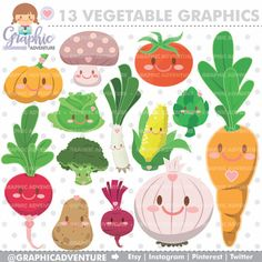 Vegetable Clipart, Vegetable Graphics, COMMERCIAL USE, Kawaii Clipart, Planner Accessories, Vegetables, Meal, Food Party, Vegetable Party