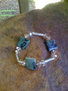 green jasper & crystals w.decorative metal beads bracelet etsy.com/people/ BrightStarrCreations  message me to order please