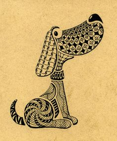 doggy stencil zentangle by art4u2c, via Flickr