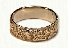 Celtic Thistle Knot with Straight Edges Wedding Band- Shown in 14kt Yellow Gold ( We make this ring in sterling silver, 14kt yellow, white, rose, green, palladium and platinum) - email us for more information. designet@raru.com