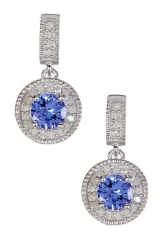 Tanzanite & White Diamond Dangle Earrings by Savvy Cie on @HauteLook