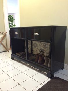 Old dresser turned into a hall table/ shoe rack. #diy #upcycle #blackandwhite & Old dresser turned into shoe rack with storage | Furniture makeover ...