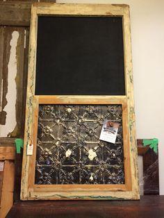 Forever Interiors reclaimed window frame chalkboard/antique ceiling tile combo.