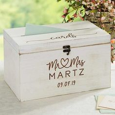 The Infinite Love Personalized Wedding Wood Card Box is the perfect gift for any bride-to-be. Her special day will be a day to remember with this precious keepsake, which will be engraved with any title, last name, wedding date or a quote. Wedding Gift Card Box, Wedding Boxes, Wedding Guest Book, Wedding Cards, Wedding Ideas, Wooden Card Box Wedding, Tree Wedding, Wedding Planning, Wood Card Box