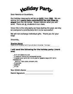 School Christmas Party Letters, Winter Party Letter To Parents, Grade ...