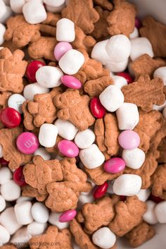 Valentine S'mores Trail Mix is your go-to last minute treat for a party or your child's valentines. Two minutes is all it takes to make this tasty treat! day party for kids Valentine S'mores Trail Mix - Garnish & Glaze Valentines Day Food, Valentines Day History, Kinder Valentines, Valentine Treats, Valentine Day Crafts, Holiday Treats, Valentine Party, Valentine Desserts, Valentine Preschool Party