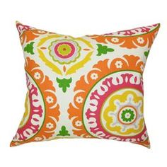 Medallion-print cotton throw pillow with a down-feather fill. Made in the USA.    Product: PillowConstruction Material: Cotton and 95/5 down fillColor: Solar flairFeatures:  Insert includedHidden zipper closureMade in the USA Cleaning and Care: Spot clean