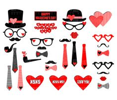 Toll Valentineu0027s Day Party Printable Photo Booth Props   Glasses, Hats, Ties,  Pipes,