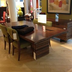 This dining table I just saw at Crate & Barrel and fell in love. The warming natural earth tones will make any space feel cozy and warm.
