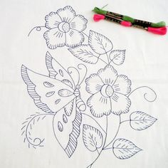 ideas for embroidery butterfly pattern beautiful Diy Embroidery Kit, Embroidery Transfers, Hand Embroidery Designs, Vintage Embroidery, Beaded Embroidery, Cross Stitch Embroidery, Machine Embroidery, Simple Embroidery, Christmas Embroidery