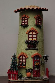 Arts And Crafts Hobbies Clay Houses, Ceramic Houses, Miniature Houses, Diy And Crafts, Arts And Crafts, Tile Crafts, Wood Vase, World Crafts, Crafts For Seniors