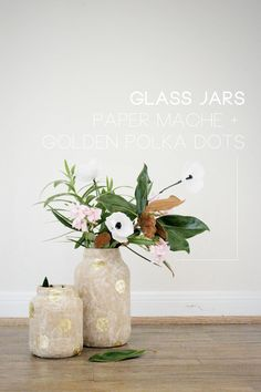 Gold Polka-Dotted Paper Mache Glass Jars-  might just do silver paint on mine.