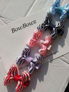 Mini Baby Boutique Hair Bow Clip Stripy Nautical Design by BowBowz