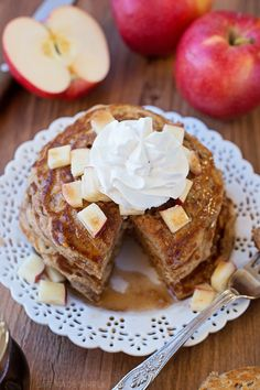 Apple Pie Pancakes with Apple Spice Maple Syrup