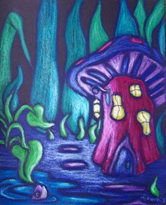 oil pastel on black paper | ... Fish - Mushroom House - Garden at Night oil pastel drawing painting