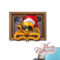 Creative Christmas 3D Octopus Wall Sticker