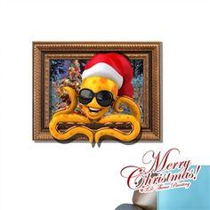3D Wandtattoo Weihnachten Kraken Weihnachtsdeko