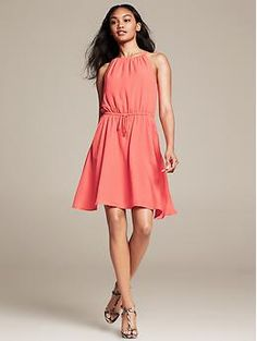 Coral dress from Banana Republic. I have this dress and I love it!