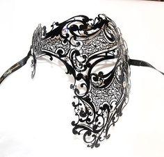 Venice Venetian Mask Black Authentic Swarovski Phantom Mask Mens Masquerade   eBay for johnny