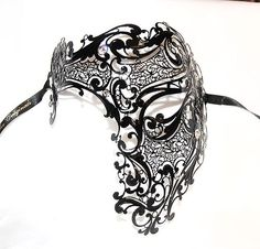 Venice Venetian Mask Black Authentic Swarovski Phantom Mask Mens Masquerade | eBay for johnny