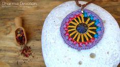 Collar de Verano - Mandala Ganchillo - Colgante Textil - Joyería Natural - Bisutería Informal - Joyas Únicas - Regalos para Mujeres