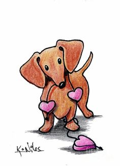 Dachshund – Friendly and Curious Dachshund Tattoo, Dachshund Funny, Arte Dachshund, Dachshund Puppies, Weenie Dogs, Dachshund Love, Daschund, Dachshund Drawing, Funny Puppies