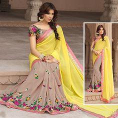 Pure Georgette Bollywood Indian Designer Wedding Party New Saree Sari Blouse  #Shoppingover #Saree
