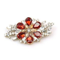 "Yumi Classic Brooch ~ Crystal with Red Flower. Amazing flowering brooch, size 3.20"" x 1.70"". Price: $29.90"