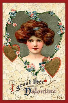 Olde America Antiques | Quilt Blocks | National Parks | Bozeman Montana : Valentine - I Greet Thee Valentine