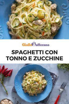Gli SPAGHETTI CON TONNO E ZUCCHINE sono un primi piatto semplice e saporito, che trasforma pochi ingredienti poveri in una pietanza ricca e sfiziosa. Il tocco segreto? Un pizzico di timo! #giallozafferano #spaghetti #pasta #italianfood #italianrecipe #primipiatti #tonno #tuna #zucchine #zucchini [Italia food: spaghetti with tuna and zucchini] Spaghetti, Diy Food, Ethnic Recipes, Party, Diet, Italian Cuisine, Parties, Noodle