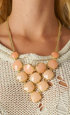 Beaded Peach Bib Necklace