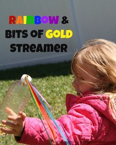 Rainbow and Bits of Gold Streamer. Fun outdoor toy for St. Patrick's Day.