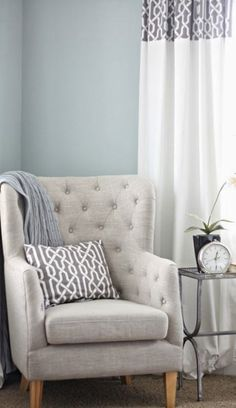 Grays and blues create a serene setting in any room.
