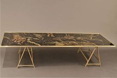 Vintage Brass Coffee Table with Painted Glass Top   From a unique collection of antique and modern coffee and cocktail tables at https://www.1stdibs.com/furniture/tables/coffee-tables-cocktail-tables/