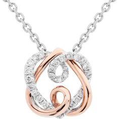 0.19 Carat 18kt Rose and White Gold Diamond Pendant
