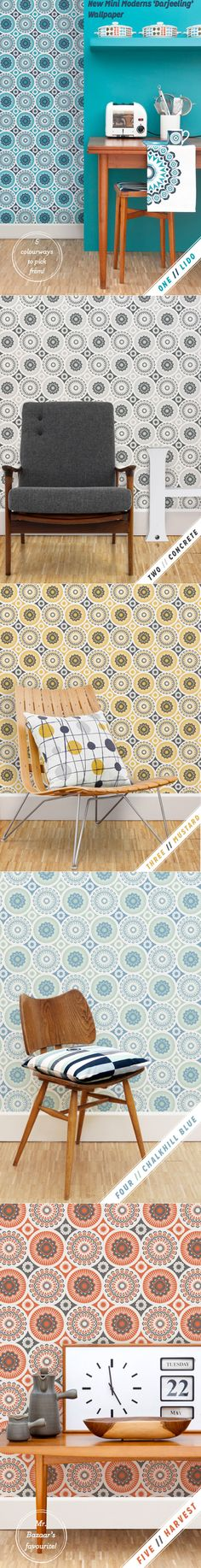 Mini Moderns Darjeeling wallpaper in five colourways