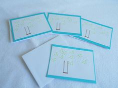 Hand stamped embossed note cards set of 4 by DawnFrostDesigns