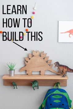 Learn how to make this simple Dinosaur shelf with this full tutorial! It makes t… Learn how to make this simple Dinosaur shelf with this full tutorial! It makes the perfect decoration for any dinosaur themed little boy's room! Diy Home Crafts, Easy Diy Crafts, Fun Crafts, Diy Home Decor, Kids Decor, Decor Crafts, Room Decor, Scrap Wood Projects, Diy Craft Projects