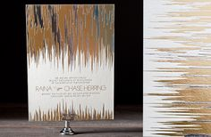 Metallic ink wedding invitations. Perfect for a winter wedding!
