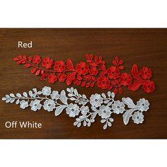 1 Pair Bridal Lace Applique DIY Trim Appliques in Bleached