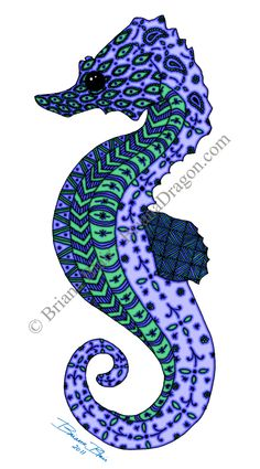 Aqua Zentangle Seahorse by ~BrianaDragon on deviantART