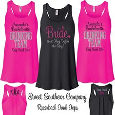 94c9d59b2f6 5 Personalized Bride and Bridesmaids Bride s Drinking Team Tank Tops with  Titles - Great for the